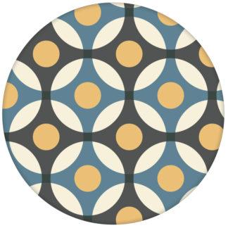 """""""Flower Dots"""" moderne Retro Wandtapete mit großen Punkten in blauaus dem GMM-BERLIN.com Sortiment: blaue Tapete zur Raumgestaltung: #Aquamarine #blau #FarrowandBall für individuelles Interiordesign"""