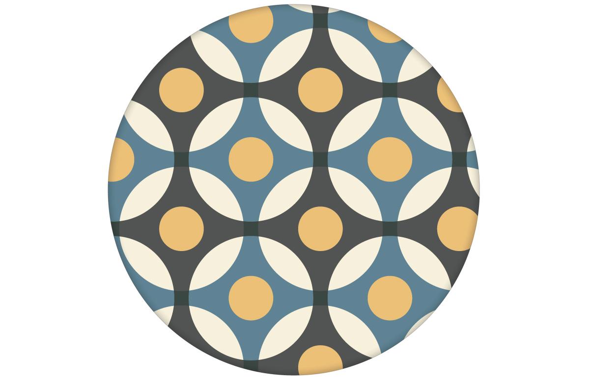 """""""Flower Dots"""" moderne Retro Wandtapete mit großen Punkten in blau"""