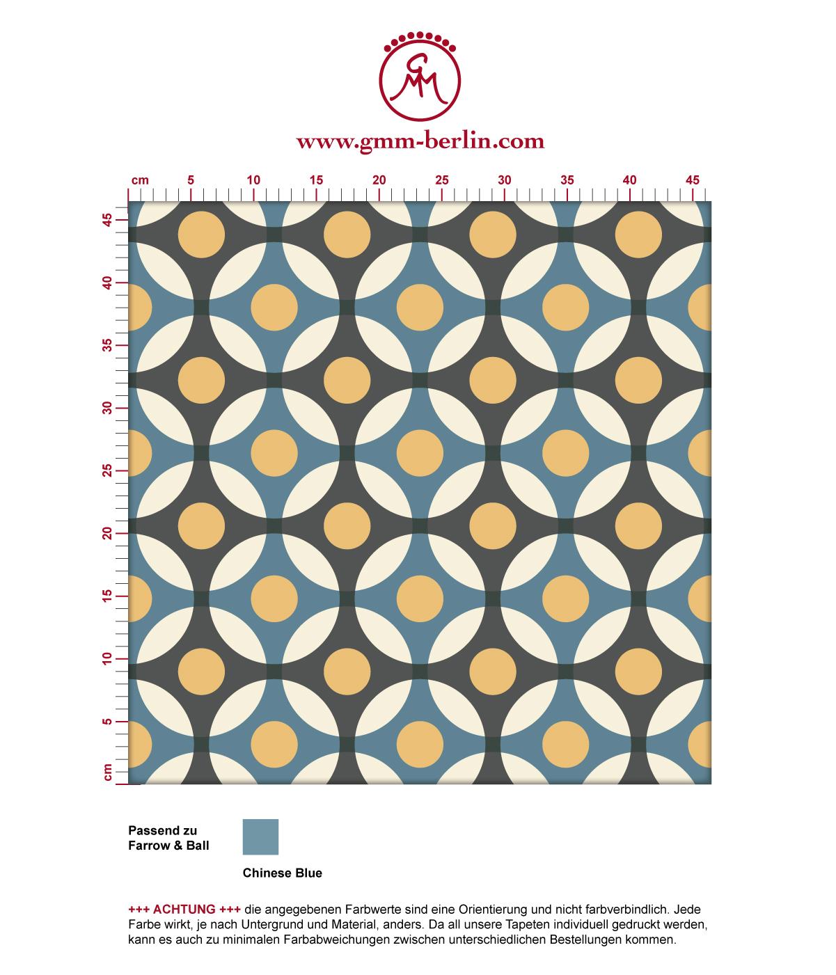 """""""Flower Dots"""" moderne Retro mit großen Punkten in blau angepasst an Farrow and Ball Wandfarben"""
