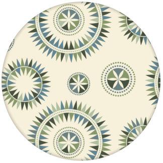 """Retro Tapete """"Windrose"""" mit nordischem Design, Wandgestaltung grün blau aus den Tapeten Neuheiten Exklusive Tapete für schönes Wohnen als Naturaltouch Luxus Vliestapete oder Basic Vliestapete"""