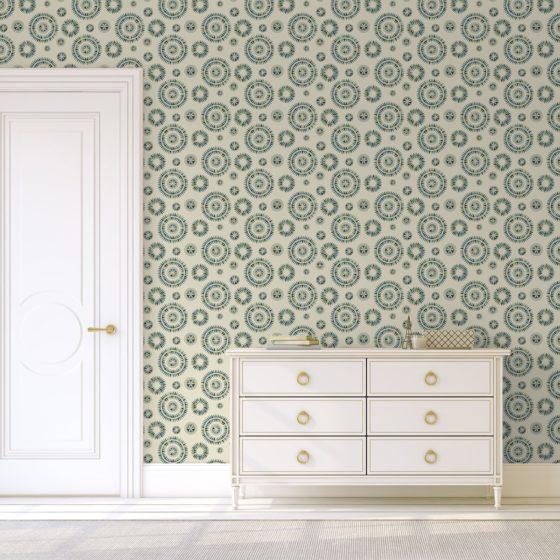 """Design Tapete """"Windrose"""" im nordischen Design in grün blau Wandgestaltung"""