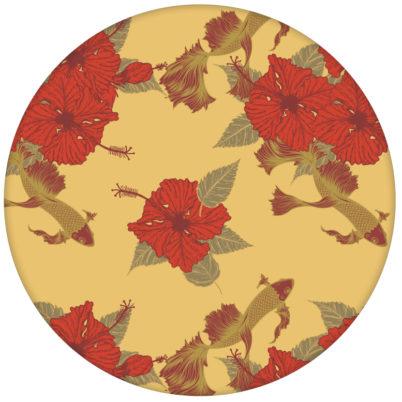 """Fisch Design Tapete """"Le jardin japonais"""" mit Blick auf Koi Karpfen Teich in gelb"""