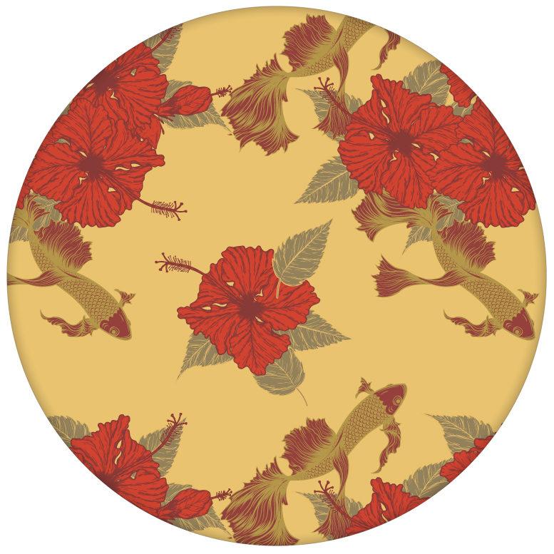 """Fisch Design Tapete """"Le jardin japonais"""" mit Blick auf Koi Karpfen Teich in gelbaus dem GMM-BERLIN.com Sortiment: gelbe Tapete zur Raumgestaltung: #FarrowandBall #Firefly #gelb für individuelles Interiordesign"""