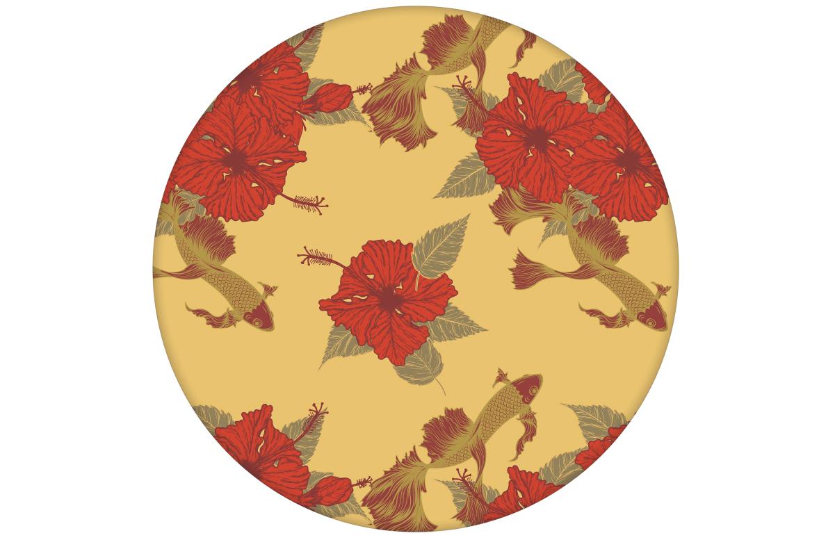 """Tapete """"Le jardin japonais"""" mit Blick auf den eleganten Koi Karpfen Teich in gelb angepasst an Farrow & Ball Wandfarben"""