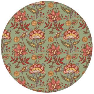 """Grüne Blumen Tapete """"Little India"""" mit folklore Muster aus den Tapeten Neuheiten Exklusive Tapete für schönes Wohnen als Naturaltouch Luxus Vliestapete oder Basic Vliestapete"""