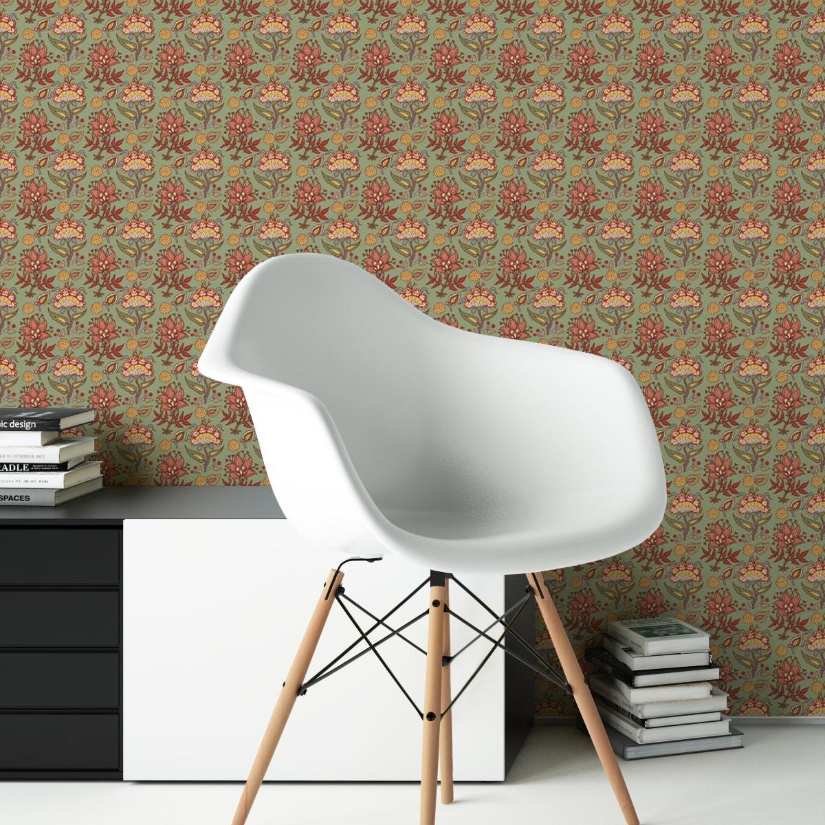 """Tapete Wohnzimmer orange: Grüne Blumen Tapete """"Little India"""" mit folklore Muster für Wohnzimmer"""