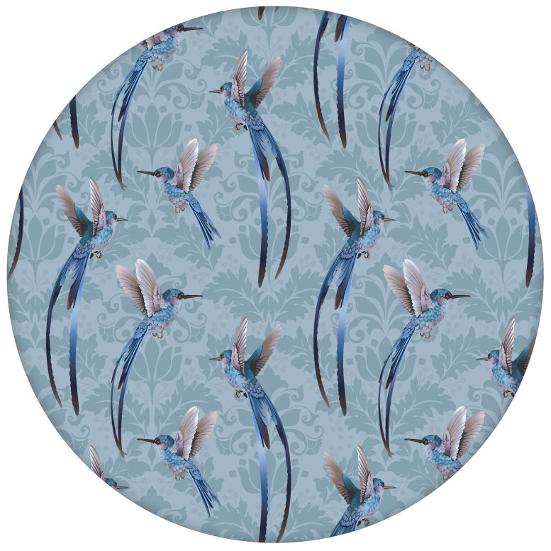 """Colobri Design Tapete """"Damast-Elfen"""" mit klassischem Damast Muster in blau für Küche Badaus dem GMM-BERLIN.com Sortiment: blaue Tapete zur Raumgestaltung: #blau #FarrowandBall für individuelles Interiordesign"""