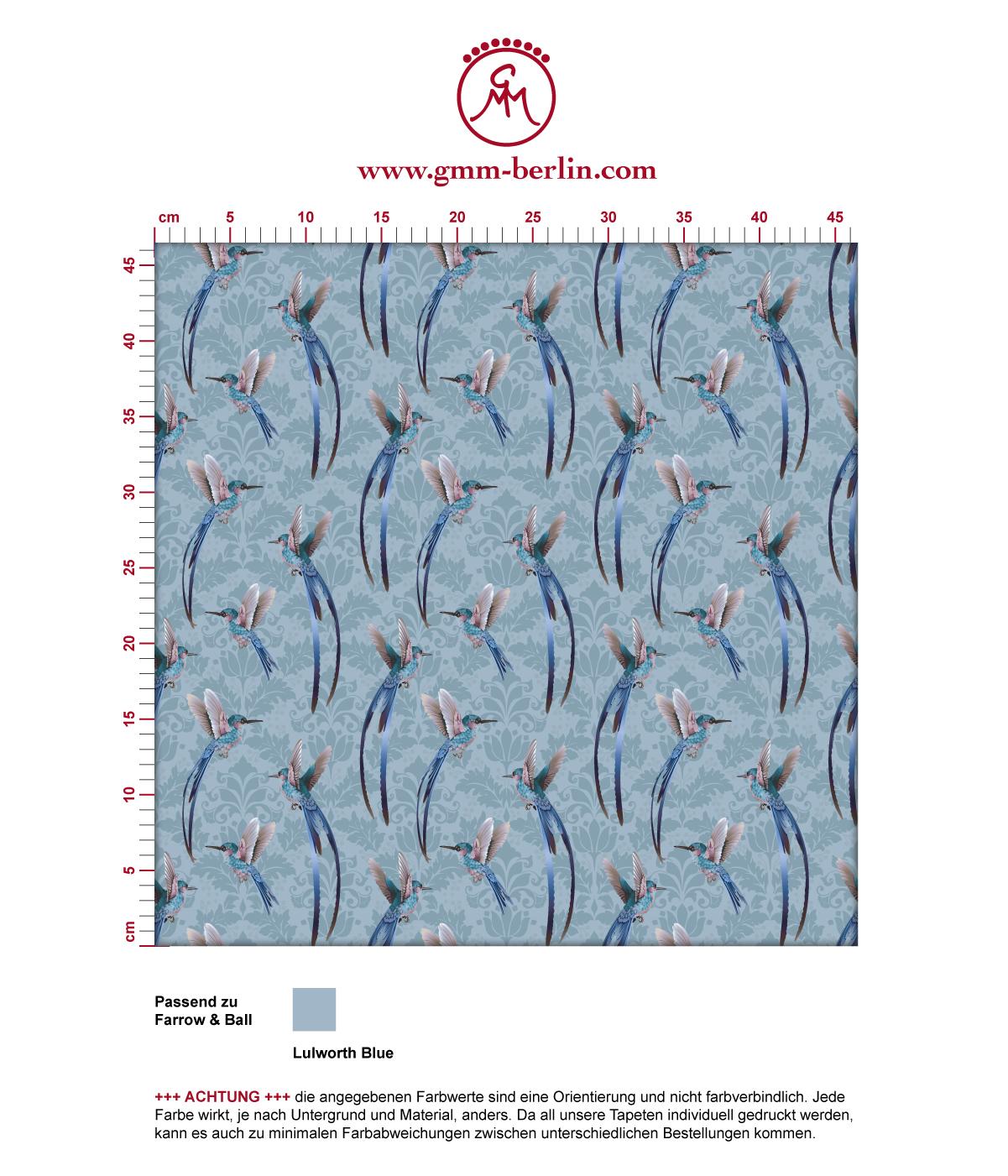"""Colobri Tapete """"Damast-Elfen"""" mit klassischem Damast Muster in blau angepasst an Farrow & Ball Wandfarben 3"""