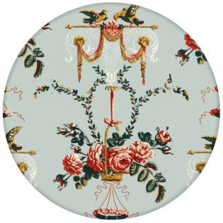 """""""Pure Rococo"""" elegante Vliestapete mit üppigen Rosen, Tauben und Blumen Kränzen in hellblauaus dem GMM-BERLIN.com Sortiment: blaue Tapete zur Raumgestaltung: #hellblau für individuelles Interiordesign"""