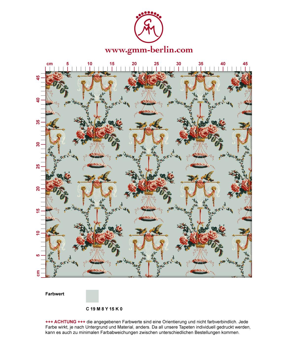 """""""Pure Rococo"""" elegante Tapete mit üppigen Rosen, Tauben und Blumen Kränzen in hellblau. Aus dem GMM-BERLIN.com Sortiment: Schöne Tapeten in der Farbe: hellblau"""