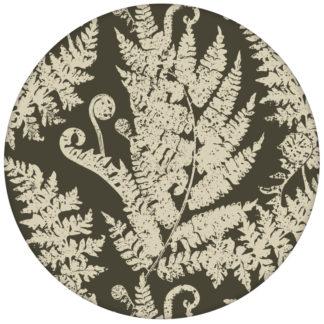 """Elegante Urwald Tapete """"Heidis Fernerie"""" mit großem Farn Muster in braun grün"""