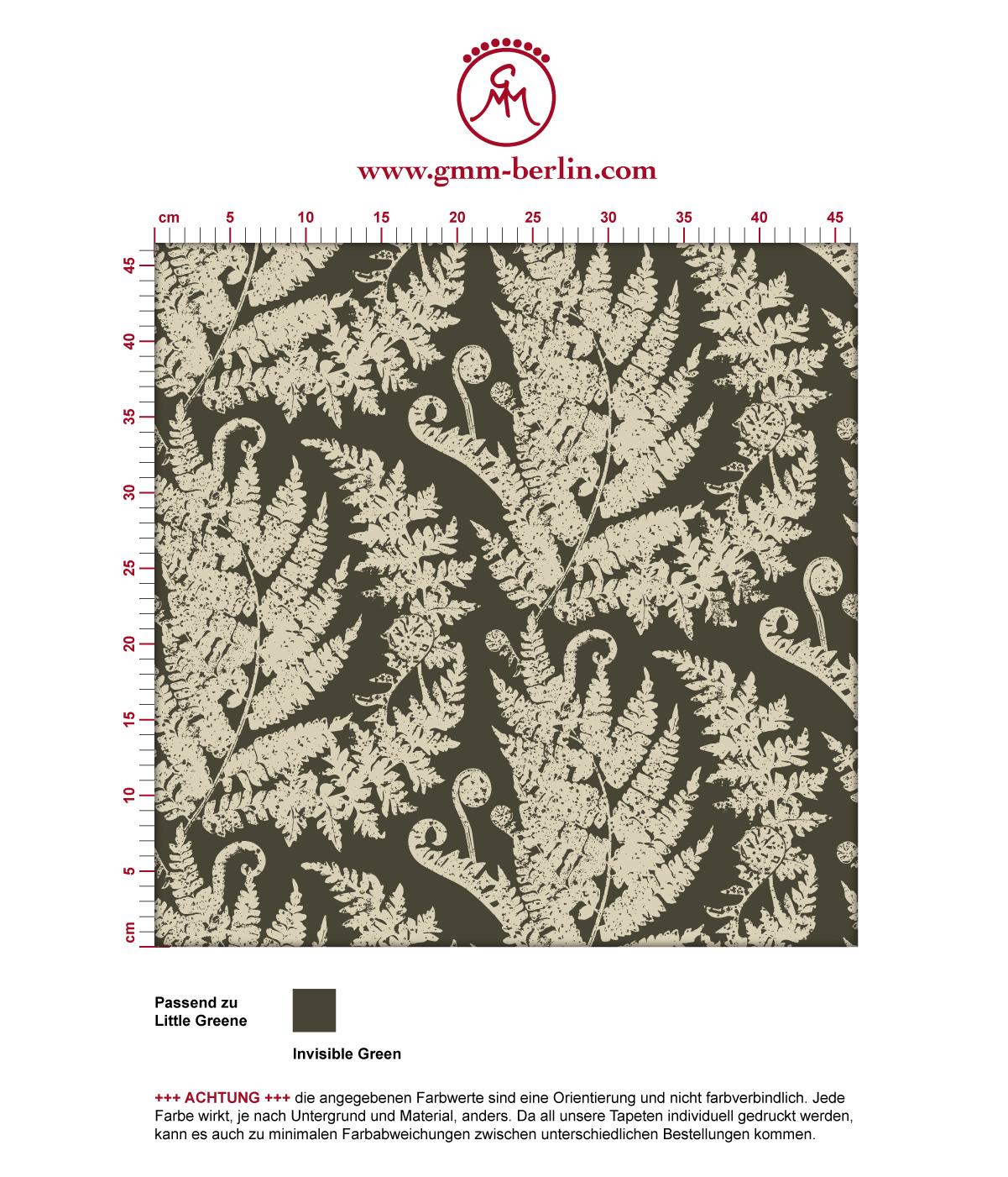 "Elegante Tapete ""Heidis Fernerie"" mit großem Farn Muster in braun grün angepasst an Little Greene Wandfarben 3"