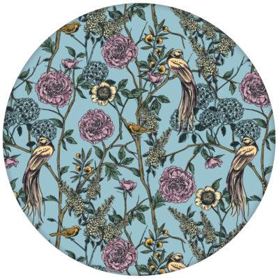 """Paradies Tapete """"Victorias Treasure"""" mit Vögeln und Blumen im victorianischen Stil in hellblau für Wohnzimmeraus dem GMM-BERLIN.com Sortiment: blaue Tapete zur Raumgestaltung: #hellblau #Little Greene für individuelles Interiordesign"""