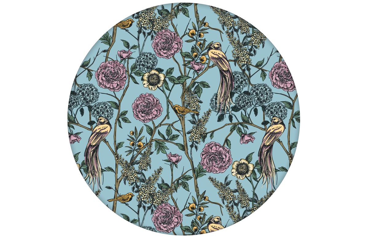 """Paradies Tapete """"Victorias Treasure"""" mit Vögeln und Blumen im victorianischen Stil in hellblau für Wohnzimmer"""