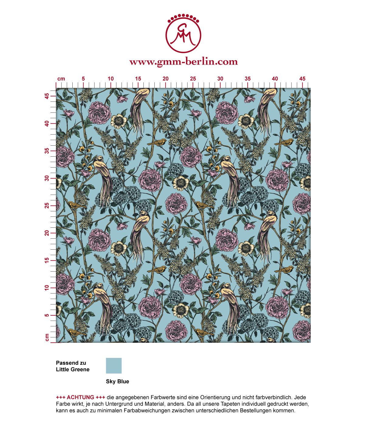 """Paradies Tapete """"Victorias Treasure"""" mit Vögeln und Blumen im victorianischen Stil in hellblau angepasst an Little Greene Wandfarben 3"""