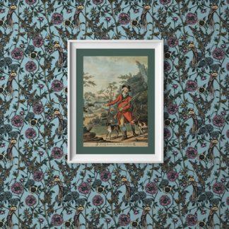 """Paradies Blumen Tapete """"Victorias Treasure"""" mit Vögeln im victorianischen Stil in hellblau für Wohnzimmer"""