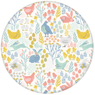 """Tapete """"Hoppelgarten"""" mit bunten Land Hühnern, Hasen und Blumen in Farbe Vliestapete aus den Tapeten Neuheiten Exklusive Tapete für schönes Wohnen als Naturaltouch Luxus Vliestapete oder Basic Vliestapete"""