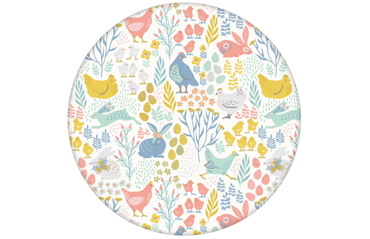 "Tapete ""Hoppelgarten"" mit bunten Land Hühnern, Hasen und Blumen in Farbe 3 angepasst an Farrow & Ball Wandfarben"