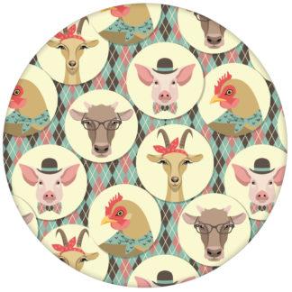 """Türkise Tapete """"Funny Portrait Gallery"""" mit lustigen Schweinen, Ziegen und Kühen auf Schotten Karo für Kinderzimmer"""