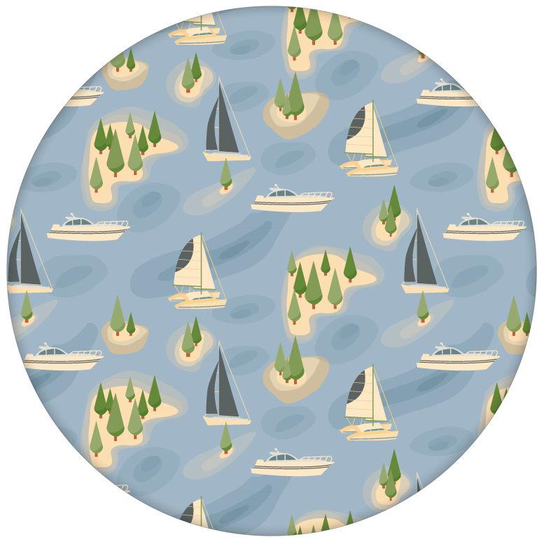"""""""Insel Hopping"""" blaue Design Tapete mit Yachten und Segel-Booten aus den Tapeten Neuheiten Borten und Tapetenmotive als Naturaltouch Luxus Vliestapete oder Basic Vliestapete"""