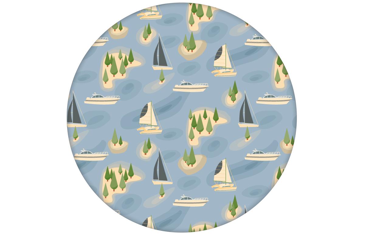 """""""Insel Hopping"""" blaue Design Tapete mit Yachten und Segel-Booten"""