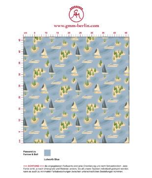 """""""Insel Hopping"""" blaue Tapete mit Yachten und Segel-Booten angepasst an Farrow & Ball Wandfarben"""