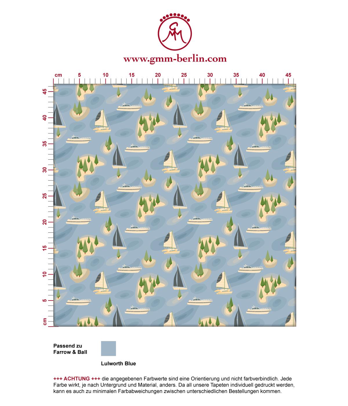 """""""Insel Hopping"""" blaue Tapete mit Yachten und Segel-Booten angepasst an Farrow & Ball Wandfarben 3"""