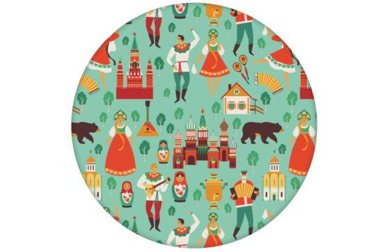 """Design Tapete """"Kalinka"""" mit tanzenden Russen, Bären in türkis Retro Wandgestaltung"""
