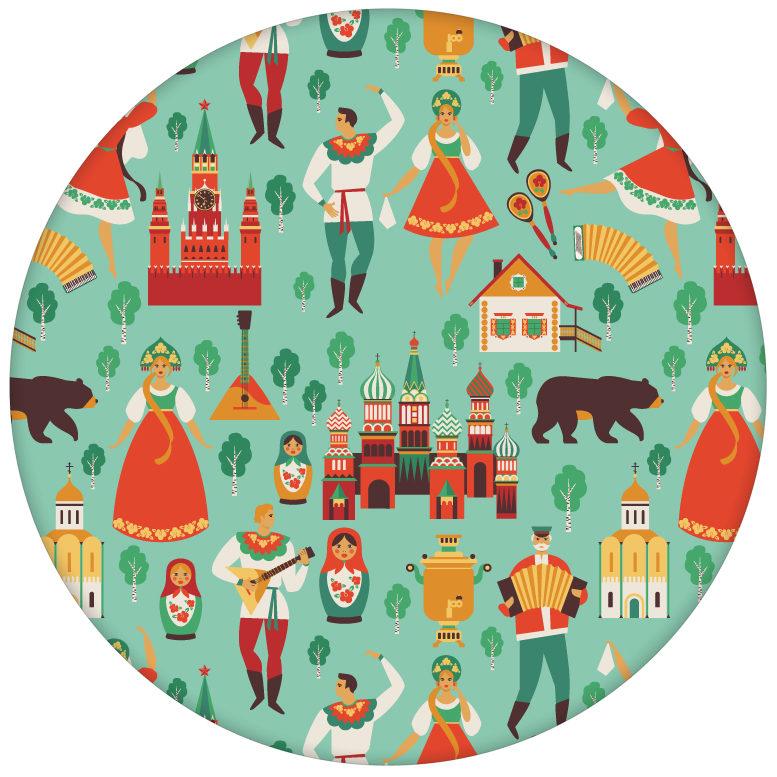 """Design Tapete """"Kalinka"""" mit tanzenden Russen, Bären in türkis Retro Wandgestaltungaus dem GMM-BERLIN.com Sortiment: rote Tapete zur Raumgestaltung: #türkis für individuelles Interiordesign"""