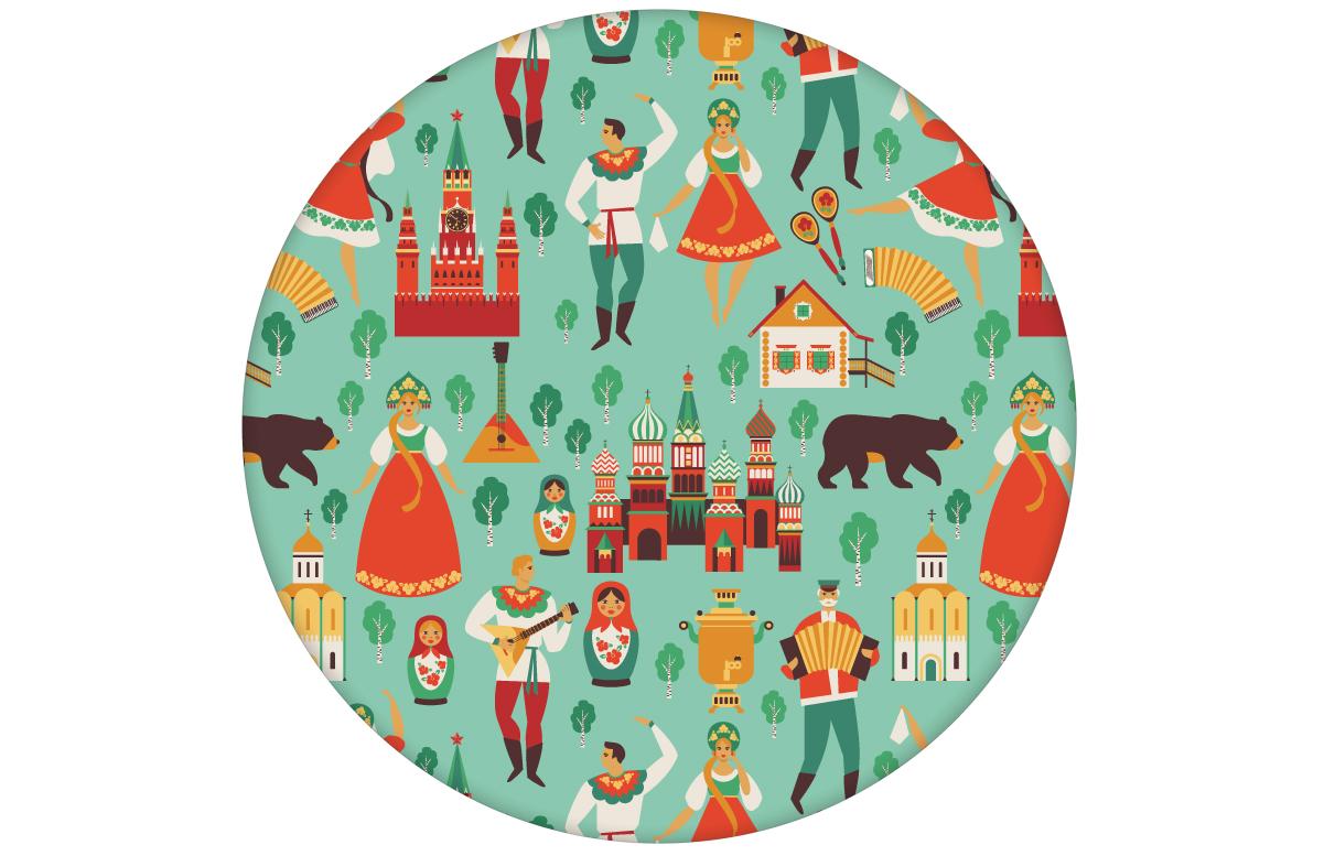 """Russische Tapete """"Kalinka"""" mit tanzenden Russen in Tracht, Bären und mehr in türkis angepasst an CMYK Wandfarben"""