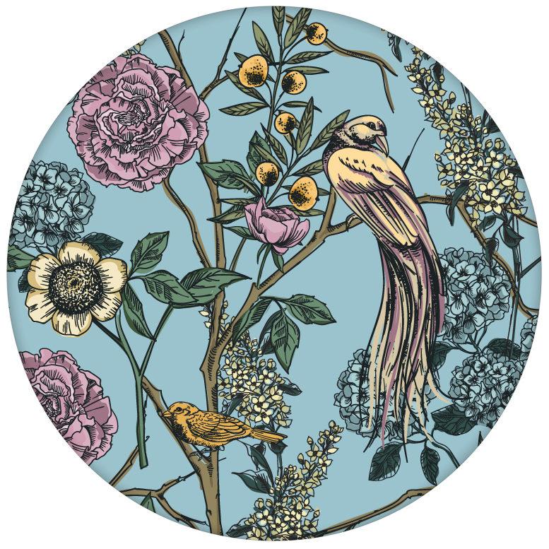 "Blumen Tapete ""Victorias Treasure"" mit Paradies Vögeln in hellblau - großer Rapport Wandgestaltung"