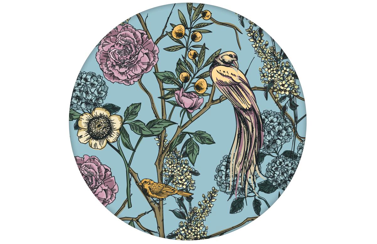 "Blumen Tapete ""Victorias Treasure"" mit Paradies Vögeln in hellblau - großer Rapport angepasst an Little Greene Wandfarben"