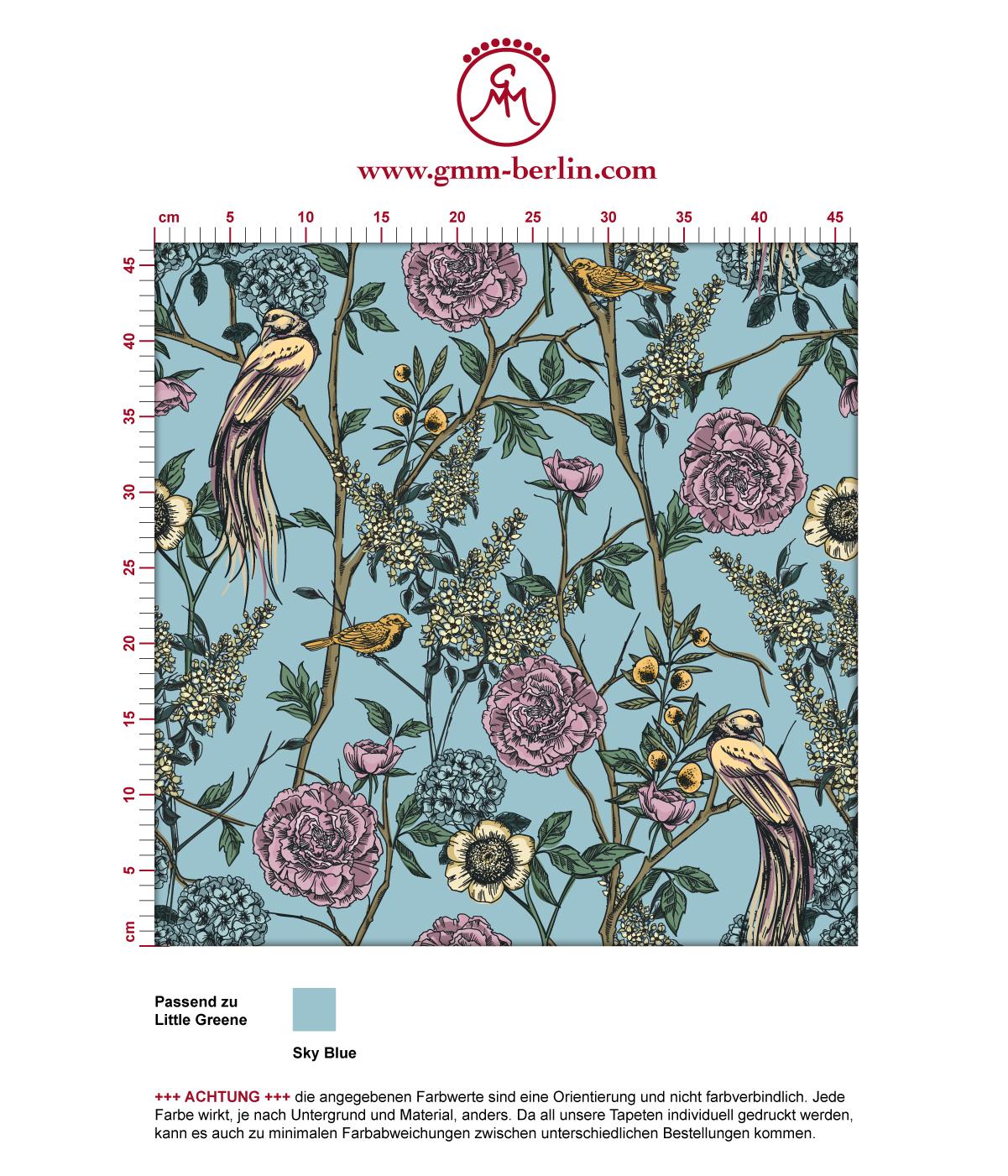 "Blumen Tapete ""Victorias Treasure"" mit Paradies Vögeln in hellblau - großer Rapport angepasst an Little Greene Wandfarben 3"