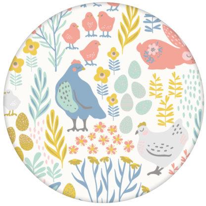 """Bauernhof Tapete """"Hoppelgarten"""" mit bunten Hühnern, Hasen und Blumen in Farbe - große Wandgestaltung aus den Tapeten Neuheiten Exklusive Tapete für schönes Wohnen als Naturaltouch Luxus Vliestapete oder Basic Vliestapete"""