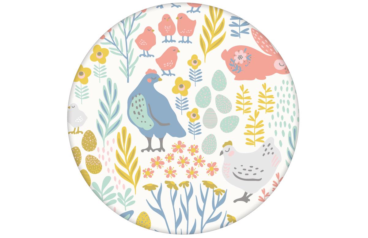 """Bauernhof Tapete """"Hoppelgarten"""" mit bunten Hühnern, Hasen und Blumen in Farbe 3 - groß angepasst an Farrow & Ball Wandfarben"""