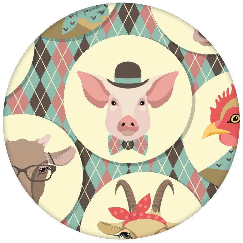 """""""Funny Portrait Gallery"""" mit lustigen Schweinen, Ziegen und Kühen auf Schotten Karo in türkis - große Wandgestaltung"""