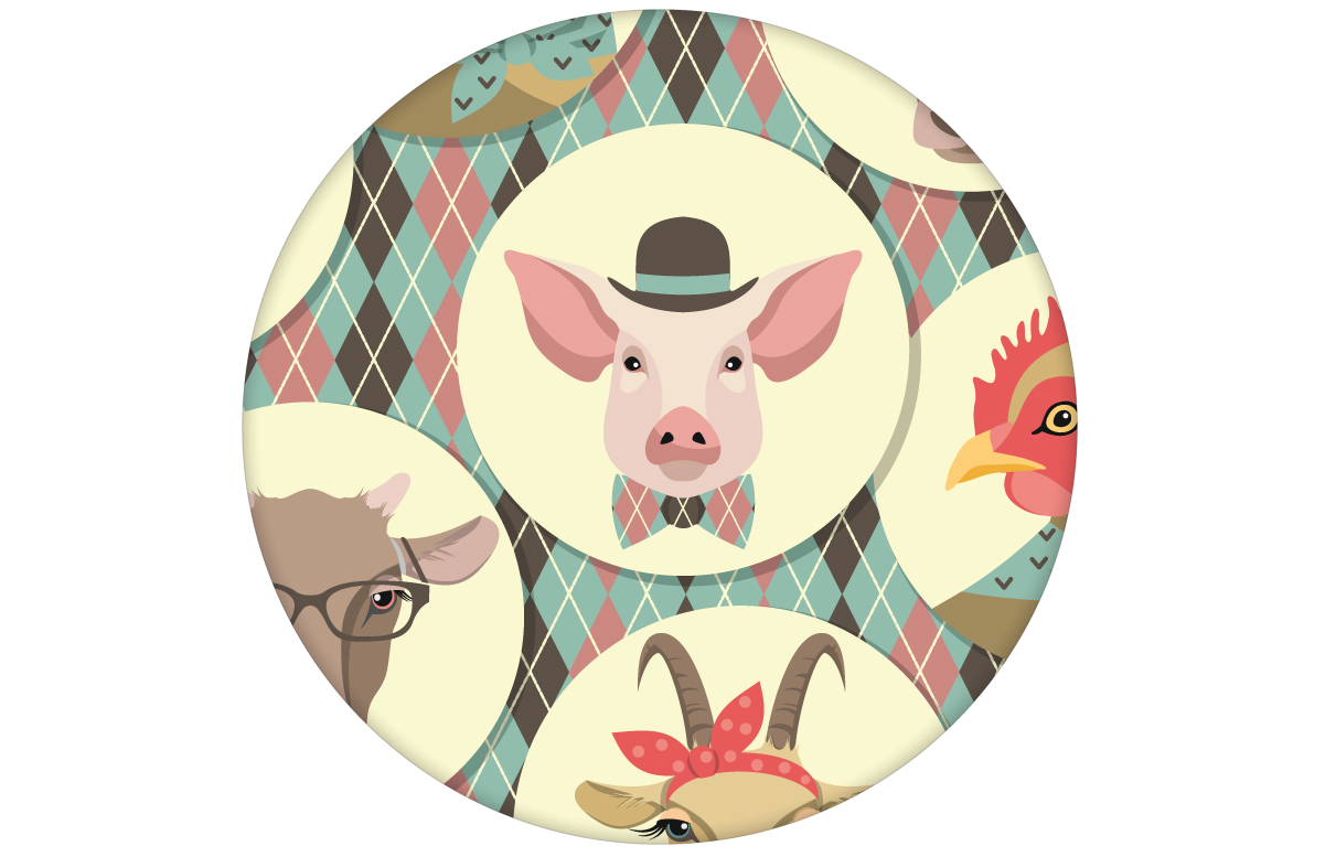 """""""Funny Portrait Gallery"""" mit lustigen Schweinen, Ziegen und Kühen auf Schotten Karo in türkis - groß angepasst an CMYK Wandfarben"""