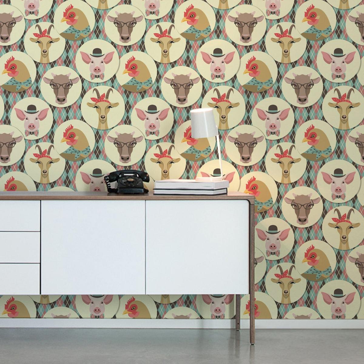 """Wandtapete dunkel braun: Design Tapete """"Funny Portrait Gallery"""" mit Schweinen, Ziegen und Kühen auf Schotten Karo in türkis - groß"""