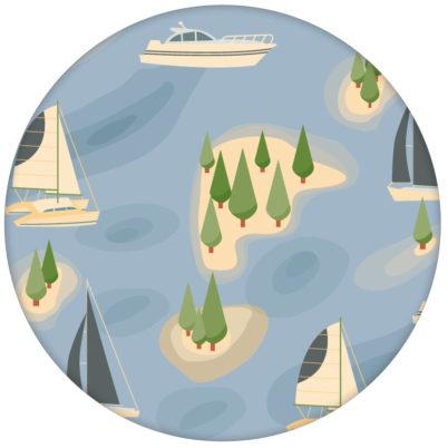 """Frische Design Tapete """"Insel Hopping"""" mit Yachten und Segel-Booten in blau - große Wandgestaltung"""