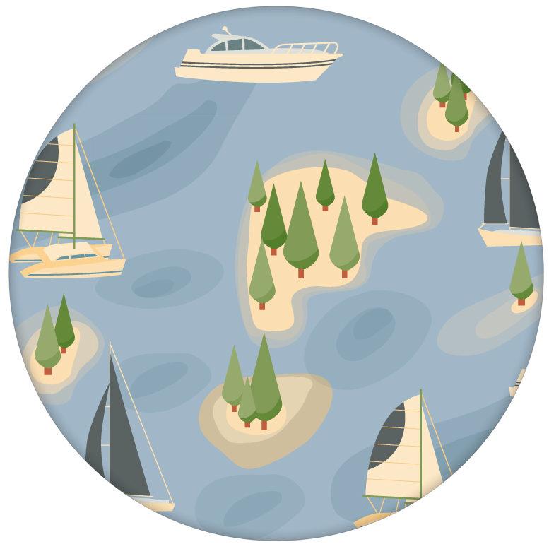 """Frische Design Tapete """"Insel Hopping"""" mit Yachten und Segel-Booten in blau - große Wandgestaltung aus den Tapeten Neuheiten Borten und Tapetenmotive als Naturaltouch Luxus Vliestapete oder Basic Vliestapete"""