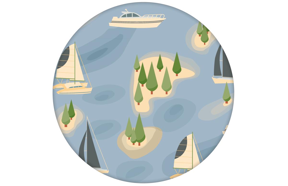 "Frische Tapete ""Insel Hopping"" mit Yachten und Segel-Booten in blau - groß angepasst an Farrow & Ball Wandfarben"
