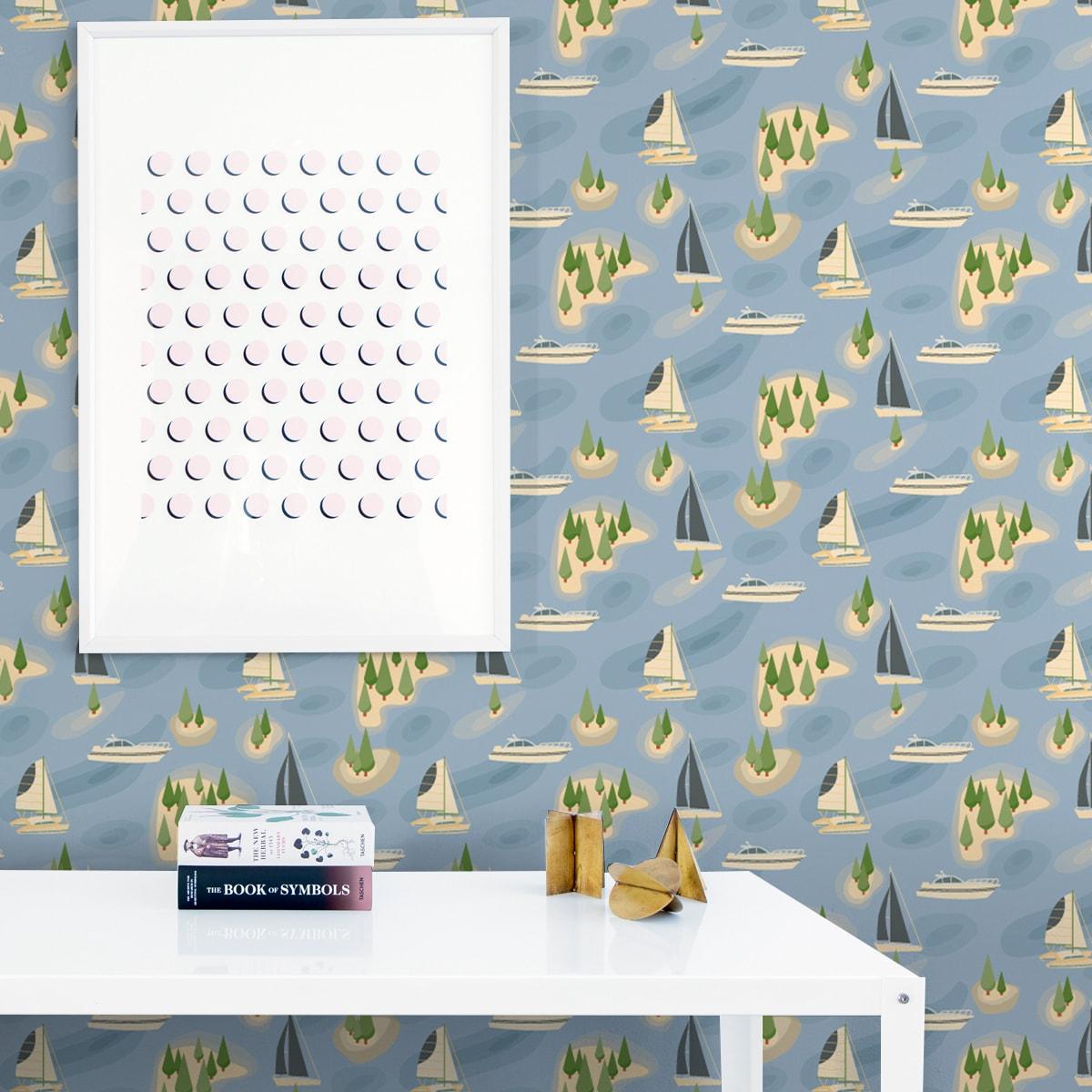 """Wandtapete mittelblau: Frische Design Tapete """"Insel Hopping"""" mit Yachten und Segel-Booten in blau - große Wandgestaltung"""