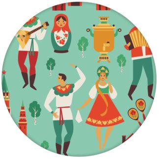 """Türkise Design Tapete """"Kalinka"""" mit tanzenden Russen in Tracht, Bären - großaus dem GMM-BERLIN.com Sortiment: rote Tapete zur Raumgestaltung: #türkis für individuelles Interiordesign"""