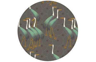 """Grüne Tapete """"Kraniche des Ibykus"""" im Asia Style auf Kreisen angepasst an Ikea Wandfarben"""