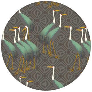 """Grüne Design Tapete """"Kraniche des Ibykus"""" im Asia Style auf Kreisen für Büro"""