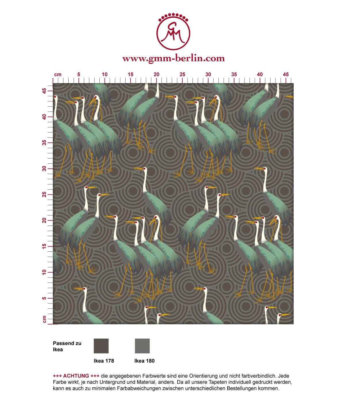"""Grüne Tapete """"Kraniche des Ibykus"""" im Asia Style auf Kreisen angepasst an Ikea Wandfarben 3"""
