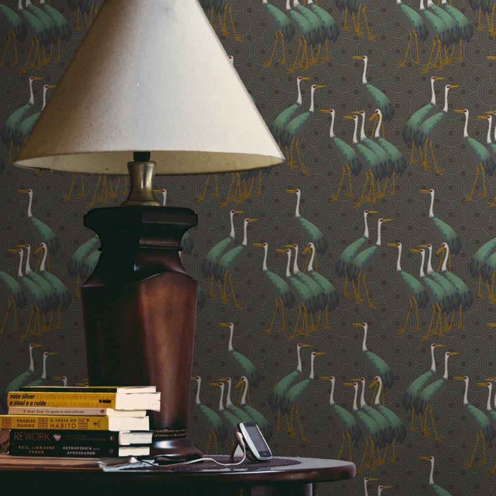 """Grüne Design Tapete """"Kraniche des Ibykus"""" im Asia Style auf Kreisen Wandgestaltung Wohnzimmer"""