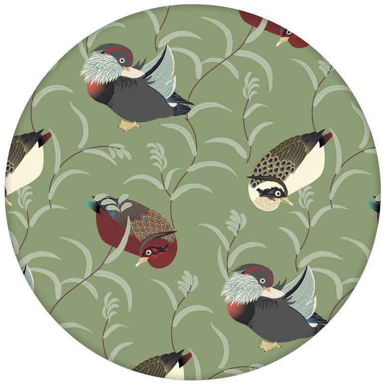 """Klassische Vlies-Tapete """"Im Schlossteich"""" mit Enten im Schilf in grün braun für Schlafzimmer"""