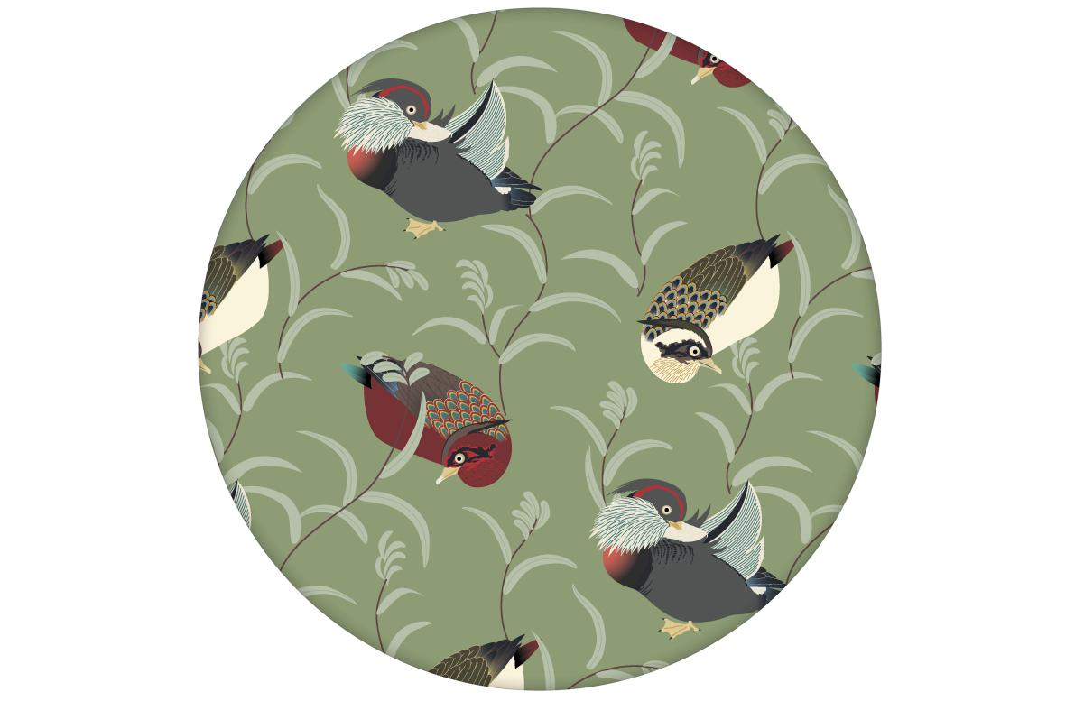 """Klassische Tapete """"Im Schlossteich"""" mit Enten im Schilf in grün braun angepasst an Little Greene Wandfarben"""