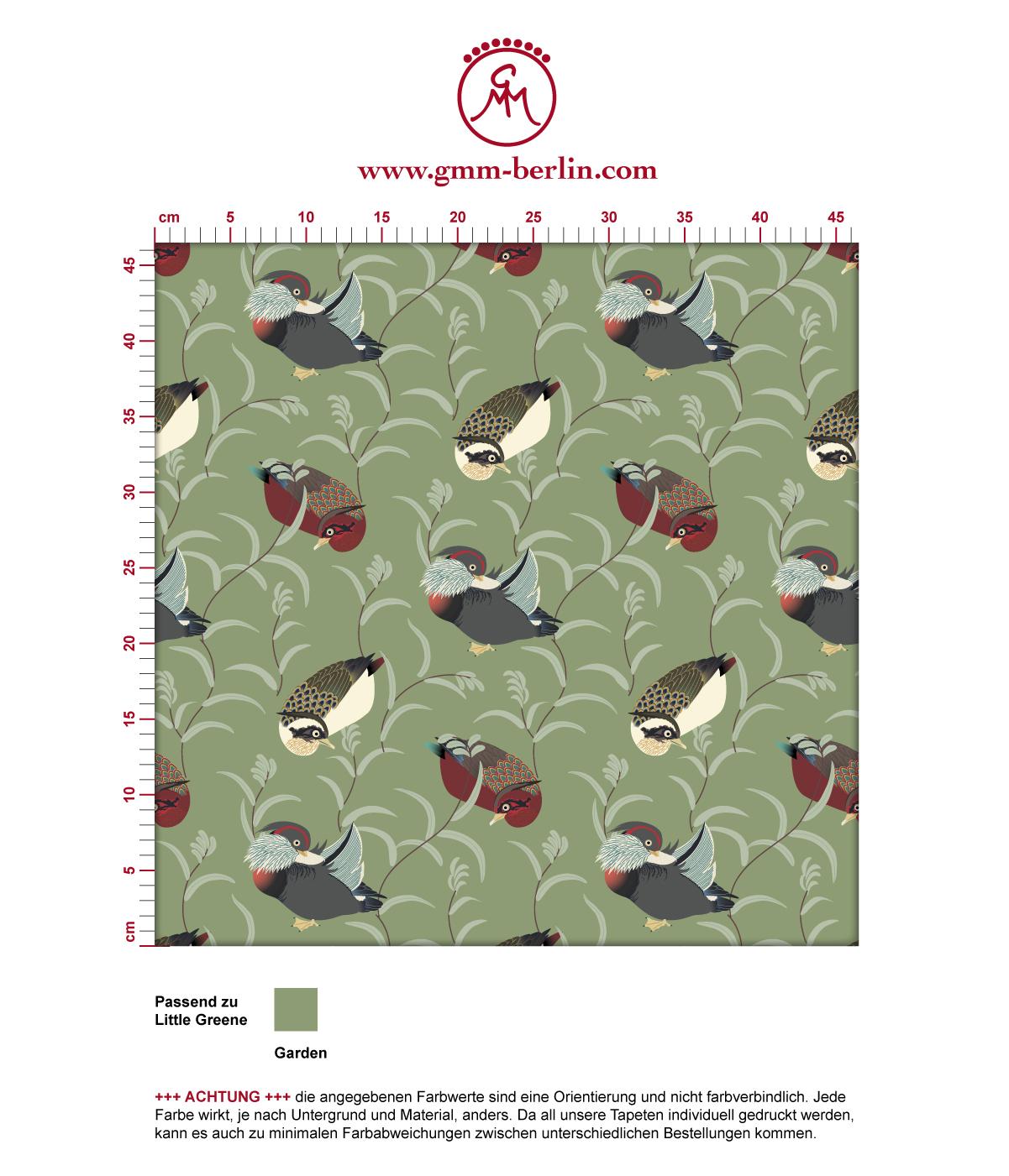 """Klassische Tapete """"Im Schlossteich"""" mit Enten im Schilf in grün braun angepasst an Little Greene Wandfarben 3"""